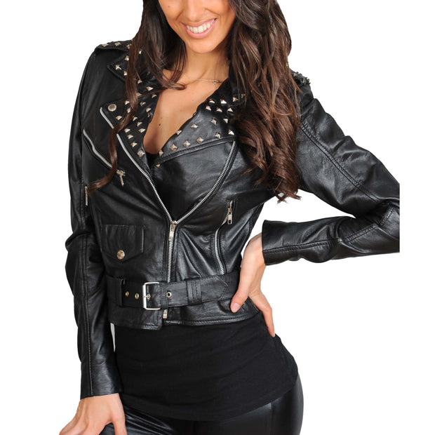 Ladies Studded Cropped Fitted Biker Leather Jacket Diane Black Front
