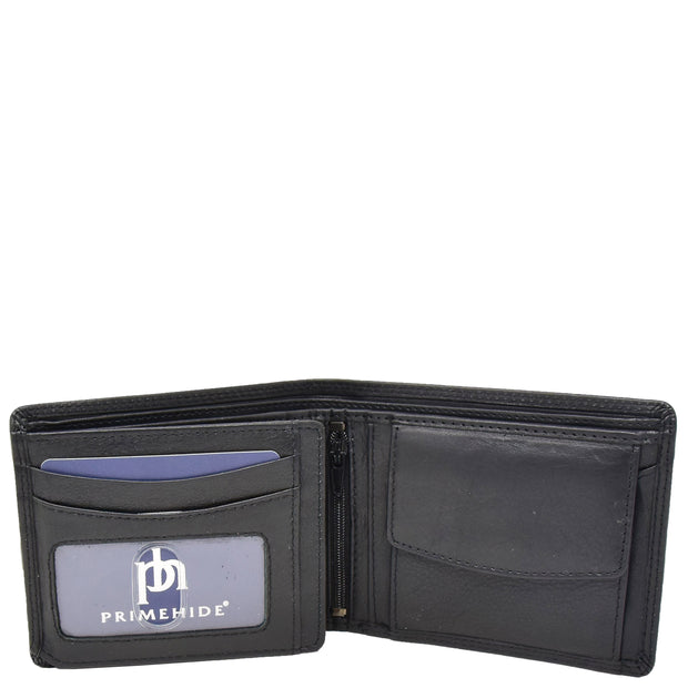 Mens Real Leather Large Size Bifold Wallet AL94 Black Open 1