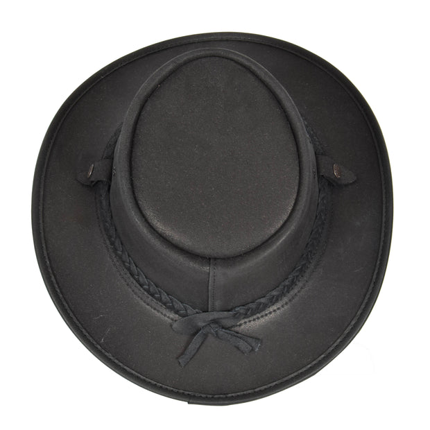 Authentic Australian Bush Leather Cowboy Hat Black Top