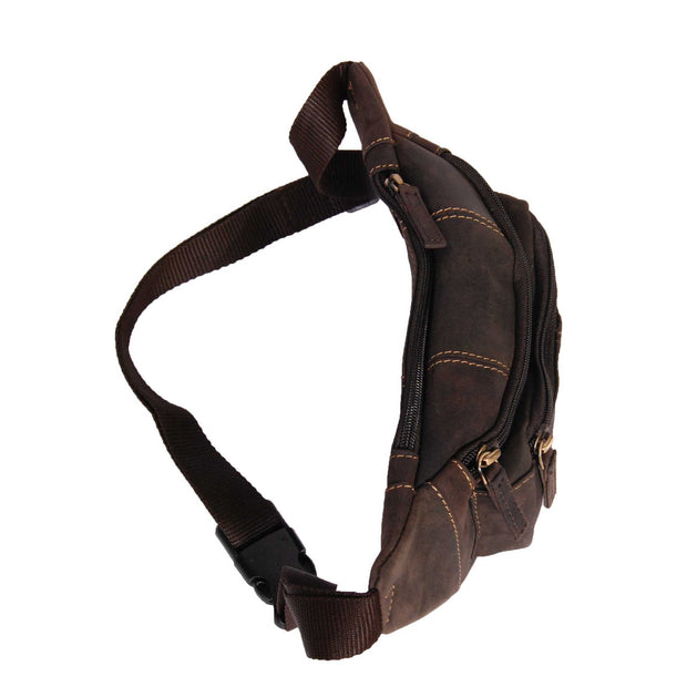 Real Leather Bum Bag Money Mobile Belt Waist Pack Travel Pouch A072 Dark Brown Top