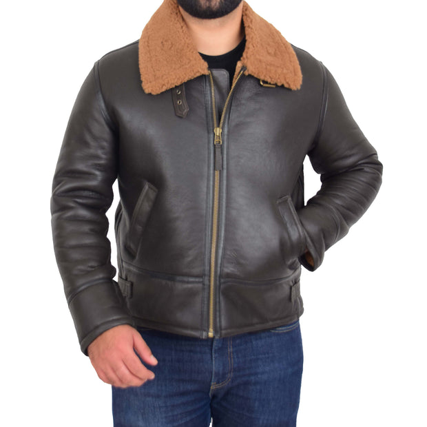 Mens Original Sheepskin Flying Jacket B3 Bomber Aviator Pilots Shearling Coat Raptor Brown/Ginger 4
