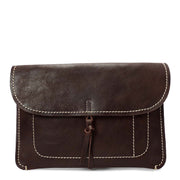 Real Leather Wrist Clutch Bag A5 Size Underarm Folio Case Nixes Brown