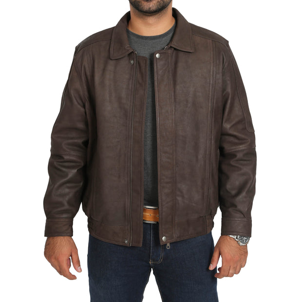 Gents Blouson Brown Leather Jacket Albert Nubuck Open