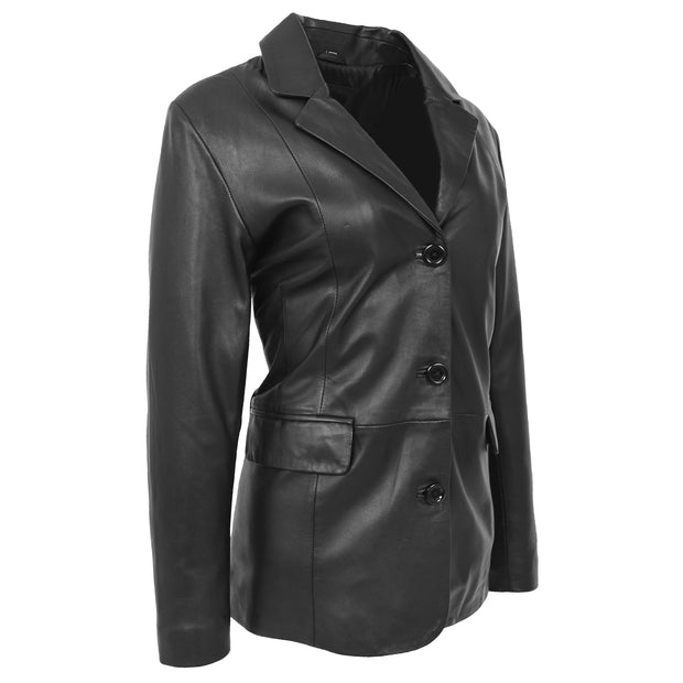 Womens Soft Black Leather Blazer Jacket Button Fasten Semi Fit Coat Leila Front  Angle 1