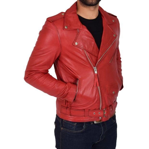 Mens Brando Biker Leather Jacket Elvis Red pockets