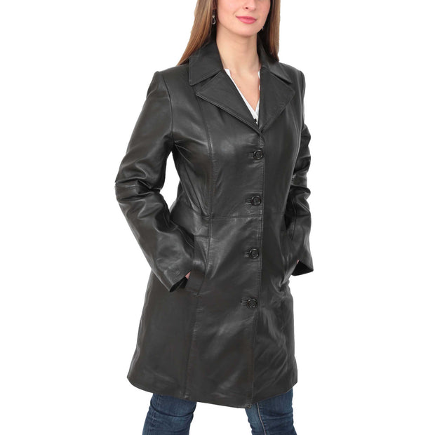 Womens 3/4 Button Fasten Leather Coat Cynthia Black main view