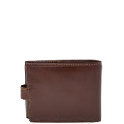 Mens Genuine Italian Leather Snap Closure Wallet AVZ5 Brown Back