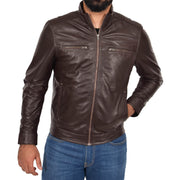 Mens Genuine Leather Biker Jacket Fitted Zip Up Coat Felix Brown Front