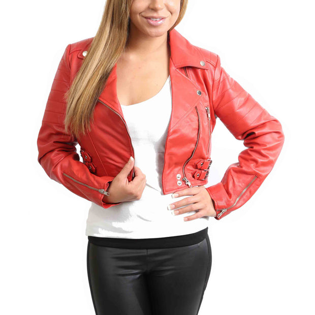 Womens Fitted Cropped Bustier Style Leather Jacket Amanda Red Open