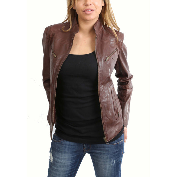 Womens Fitted Leather Biker Jacket Casual Zip Up Coat Jenny Brown Open