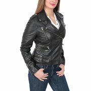Womens Fitted Trendy Biker Leather Jacket Beyonce Black main