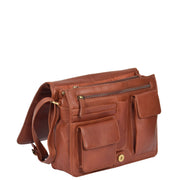 Womens BROWN Leather Shoulder Bag Classic Casual Cross Body Satchel A54 Open