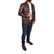 Mens Classic Zip Fasten Box Leather Jacket Tony Brown full