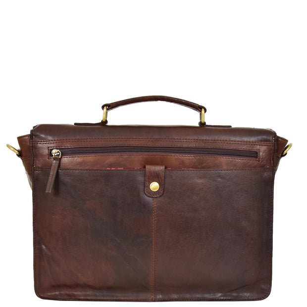 Genuine Leather Briefcase for Mens Business Office Laptop Bag Edgar Brown Back