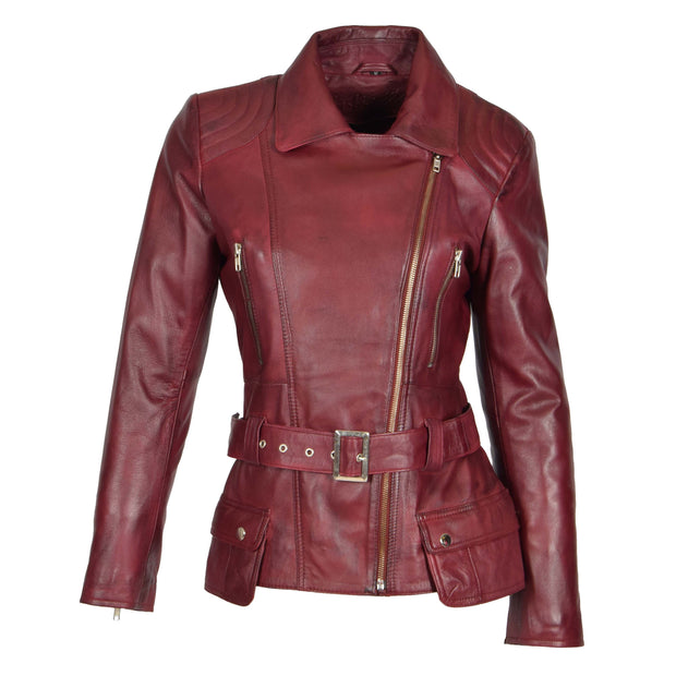 Womens Biker Leather Jacket Slim Fit Cut Hip Length Coat Coco Burgundy Front