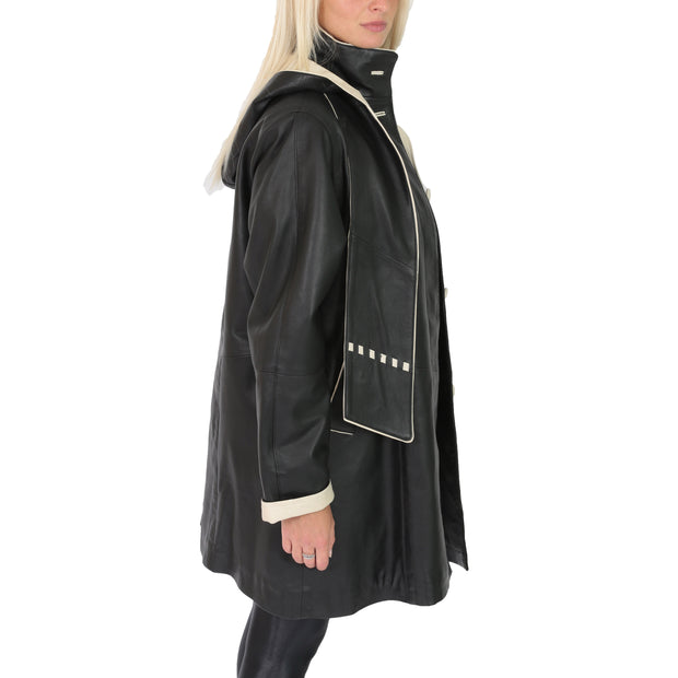 Ladies Parka Leather Coat Black Beige Trim Hooded with Scarf Dress Jacket Pat Side