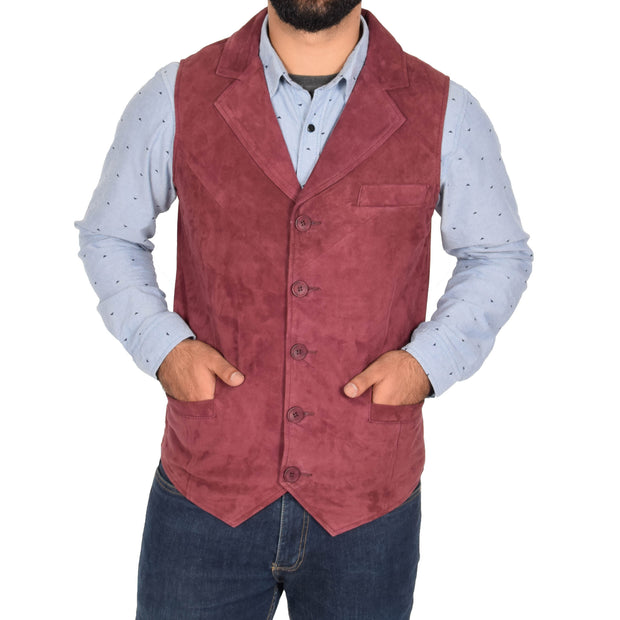 Mens Real Suede Leather Waistcoat Classic Vest Yelek Status Burgundy Front 1