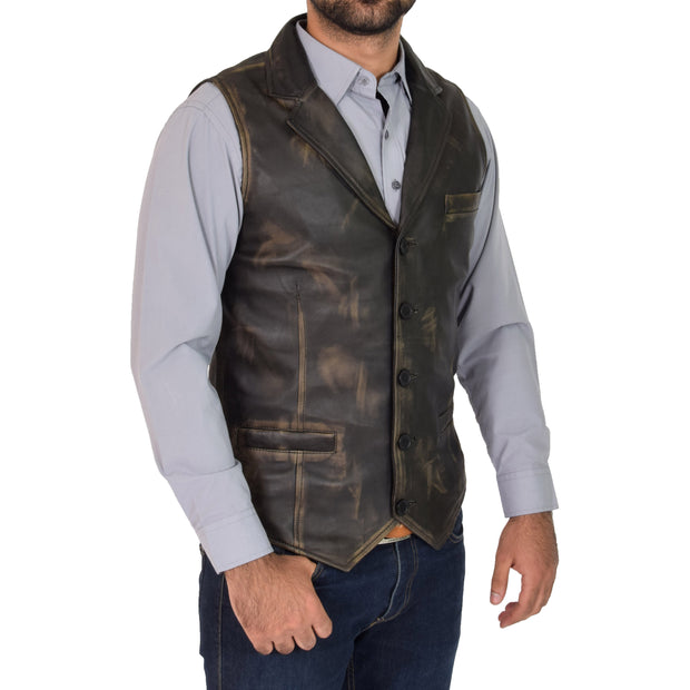 Mens Genuine Soft Leather Waistcoat Western Vest Yelek Rhys Rub Off Front 1