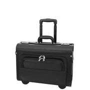 Wheeled Pilot Case Black Faux Leather Briefcase Business Rep Cabin Bag Dallas Front 2