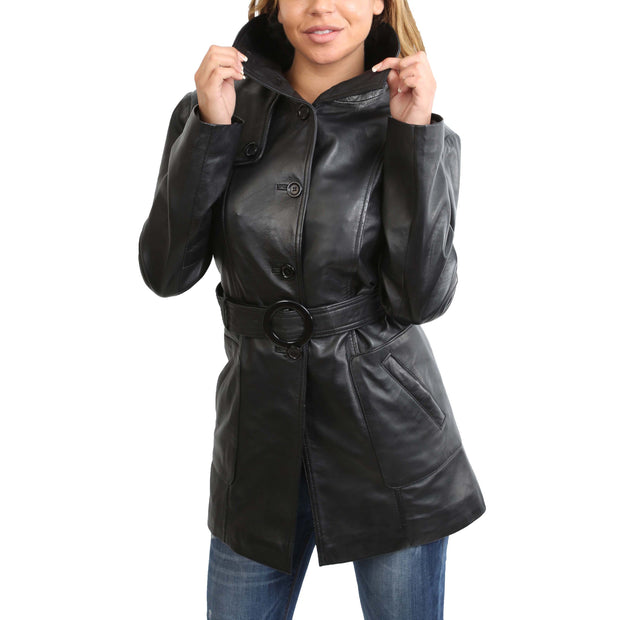 Womens Real Leather Hip Length Trench Parka Coat Alba Black Front