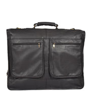 Genuine Luxury Leather Suit Garment Dress Carriers A112 Black Front