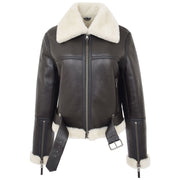 Womens Luxurious Brown Genuine Sheepskin Flying Jacket White Shearling Harriet Open Belt