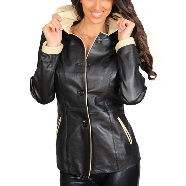 Womens Real Leather Blazer Jacket Mid Length Hooded Coat Eva Black