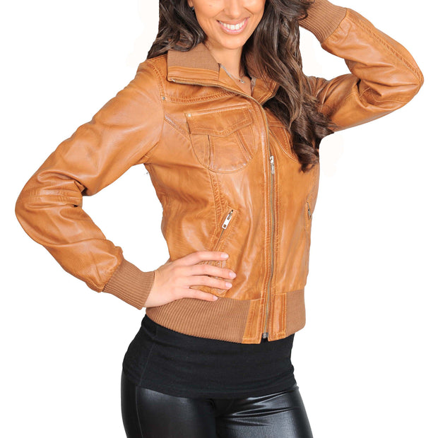 Womens Slim Fit Bomber Leather Jacket Cameron Tan