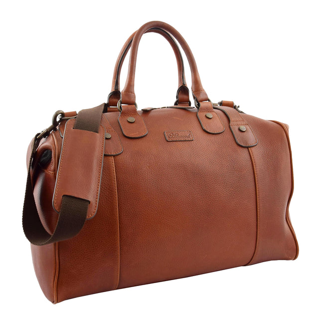 Genuine Vintage Chestnut Leather Holdall Travel Duffle Weekend Bag Rove Front With Belt 1
