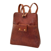 Womens Backpack Cognac LEATHER Rucksack Travel Organiser Evie
