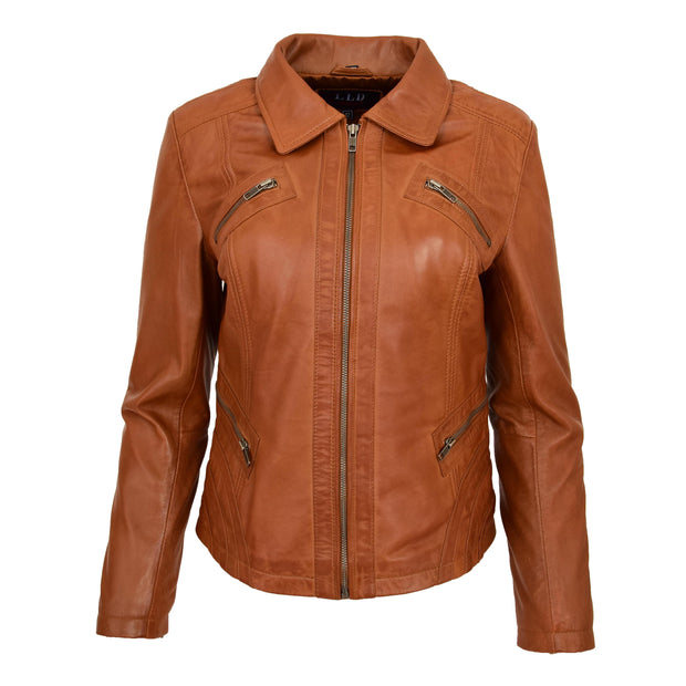 Ladies Soft Leather Jacket Fitted Collared Zip Fasten Biker Style Leah Tan Front