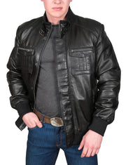 Mens Bomber Soft Leather Jacket Zip Fasten Ryan Black