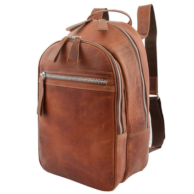 High Quality Genuine Tan Leather Backpack Large Size Work Casual Travel Bag Trek Front Angle