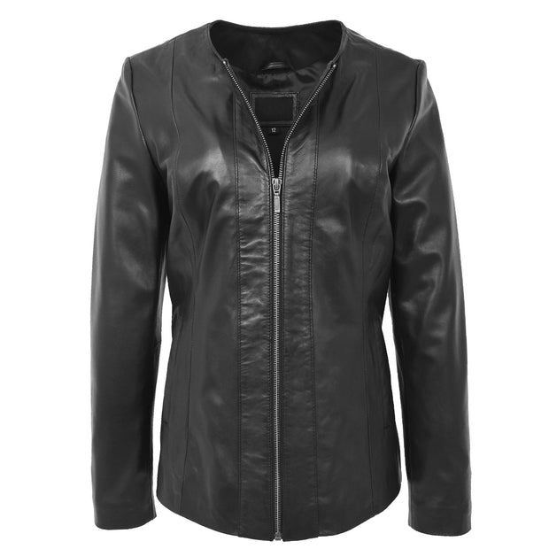 Womens Collarless Black Leather Jacket Round Neck Semi Fit Chelo Neck Open