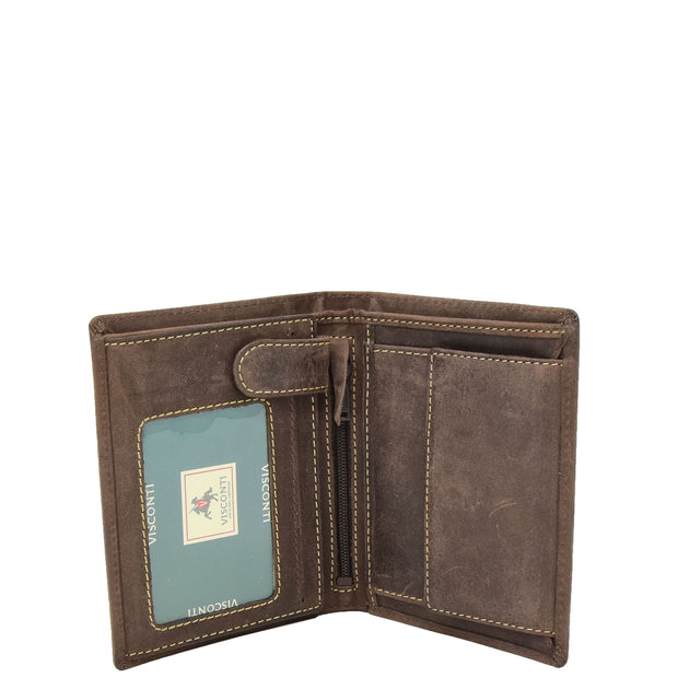 Mens Distressed Leather Wallet ID Coins Cards Notes Holder AV09 Brown Open 1