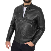 Trendy Genuine Soft Leather Biker Zipper Jacket For Men Rider Black Front 4