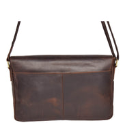 Real Leather Cross Body Messenger Shoulder Bag Luxor Brown Back