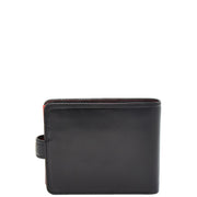Mens High Quality Real Italian Leather Wallet Purse AVT53 Black Back