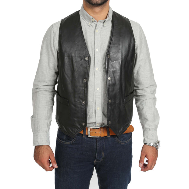 Mens Soft Leather Waistcoat Classic Gilet Bruno Black open