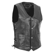 Mens Genuine Cowhide Black Leather Waistcoat Laced Sides Bikers Gilet Capone  Front 1