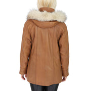Womens Zip up Detachable Hood Parka Duffle Leather Coat Isabella Tan Back 1