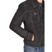 Mens Real Soft Goat Suede Trucker Denim Style Jacket Chuck Black Feature