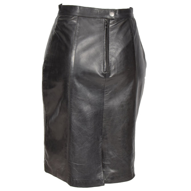 Womens Black Leather Pencil Skirt Lucy back