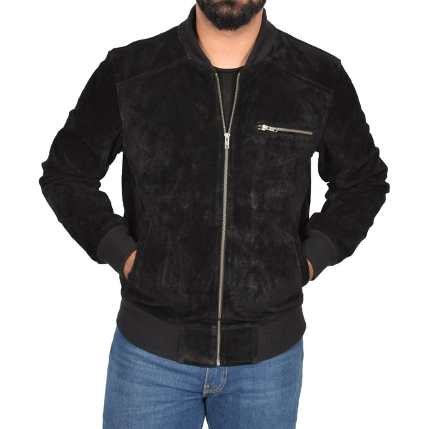 Mens Genuine Suede Bomber Jacket Roco Black