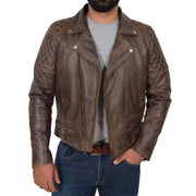 Mens Trendy Biker Leather Jacket Antique Quilted Designer Coat Jace Brown Open