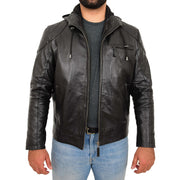 Mens Real Black Leather Hooded Jacket Sports Fitted Biker Style Coat Barry Open Front