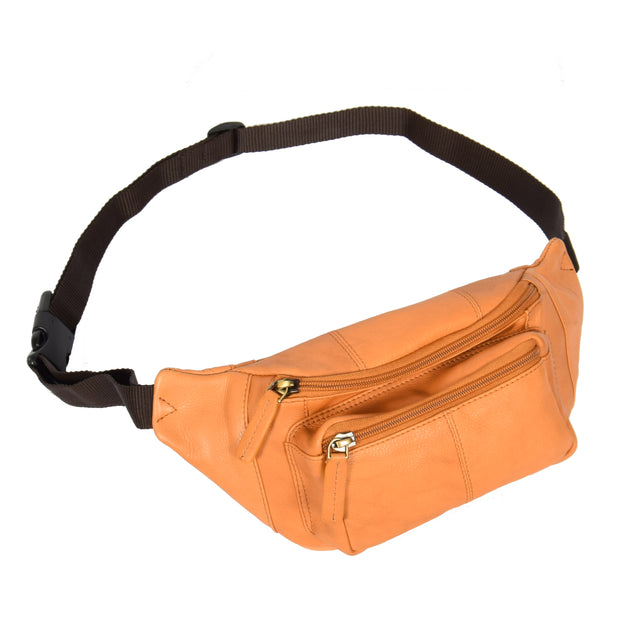 Real Leather Bum Bag Money Mobile Belt Waist Pack Travel Pouch A072 Sand