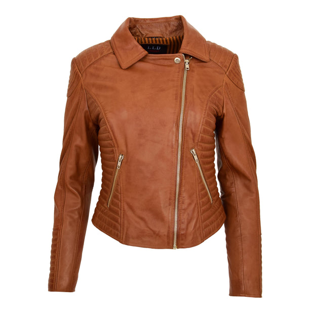Womens Designer Leather Biker Jacket Fitted Quilted Coat Bonita Tan Front