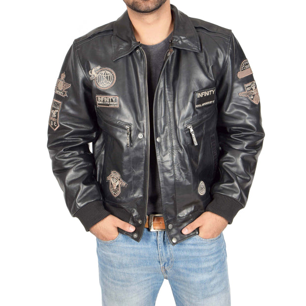Mens Pilot Leather Jacket Air Force Badges Bomber Coat Luca Black Open