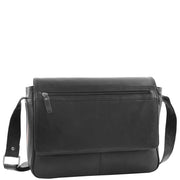 Mens Messenger Bag Real Leather Flight Shoulder Organiser Carl Black Front 1